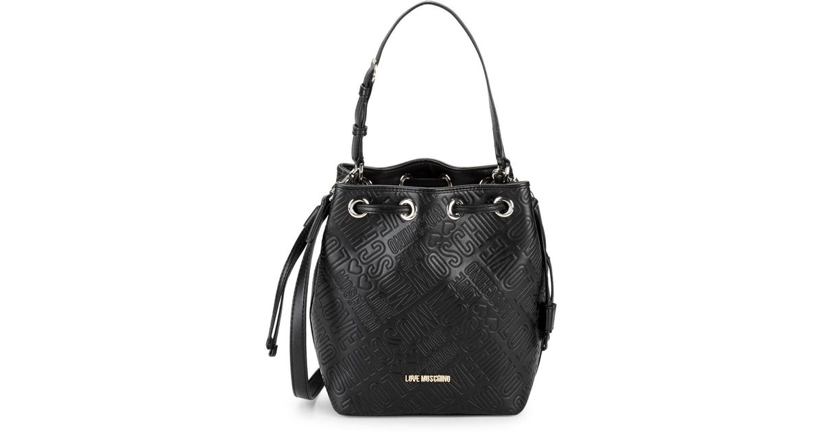 385e0df0a Love Moschino Embossed Logo Bucket Bag in Black - Lyst
