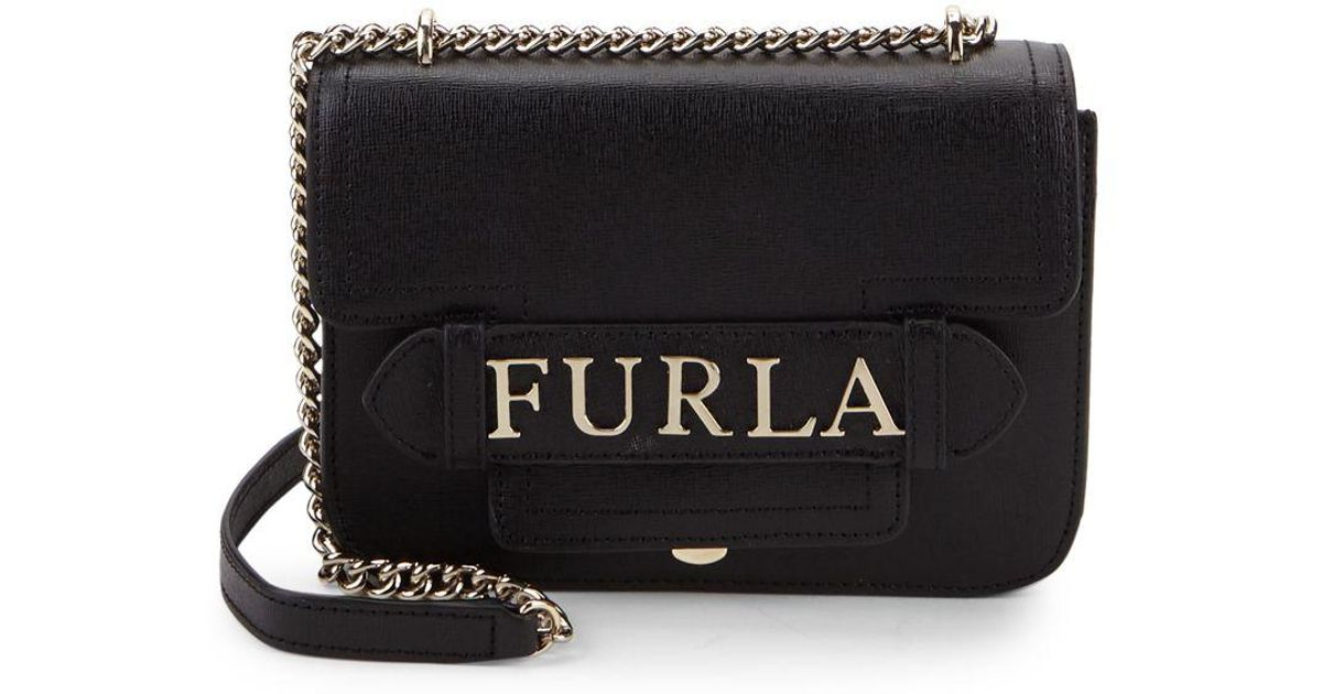 Lyst - Furla Carol Leather Mini Crossbody Bag in Black 572f08abe1e03