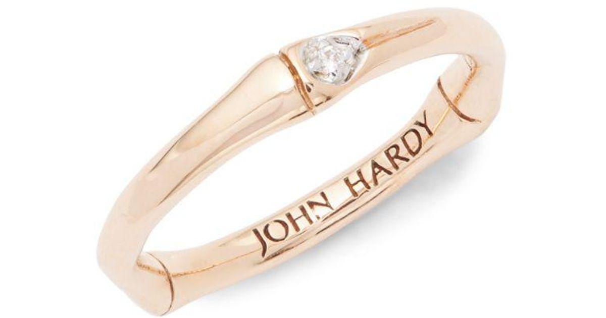John Hardy Bamboo 18k Rose Gold Diamond Ring In Metallic Lyst