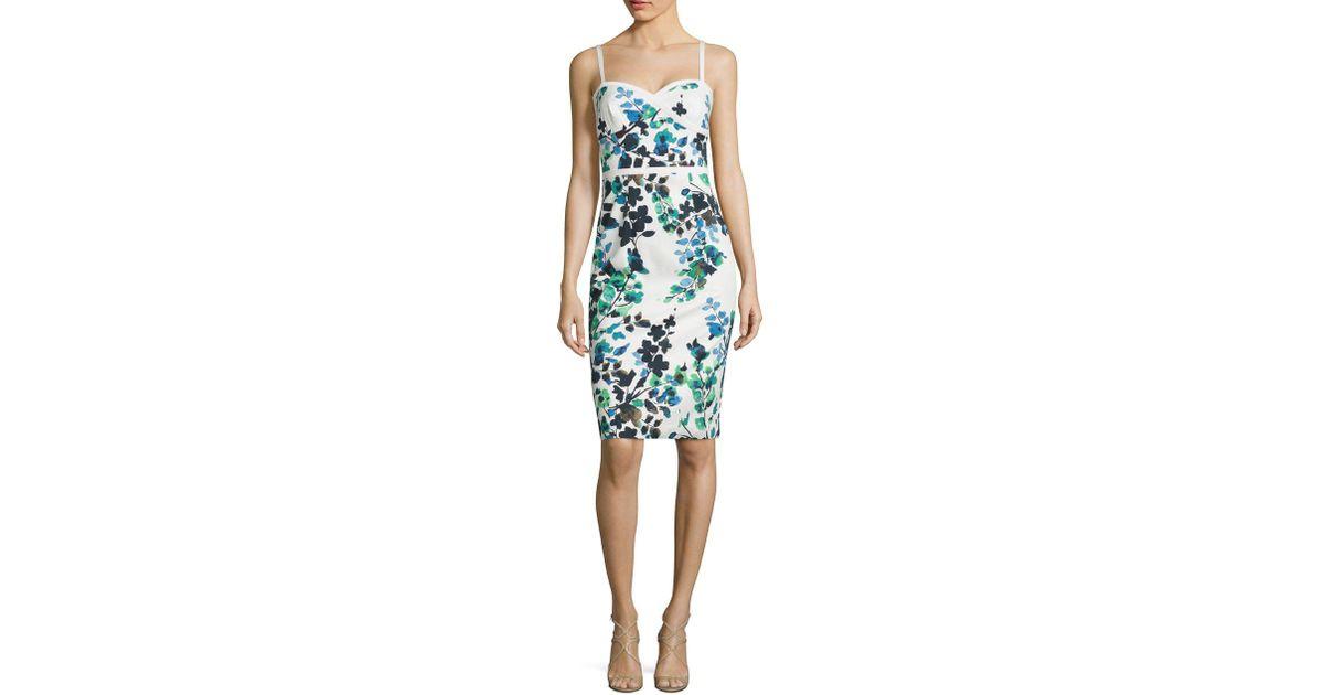 ca7efe1f Black Halo Daria Floral-print Sheath Dress in Blue - Lyst
