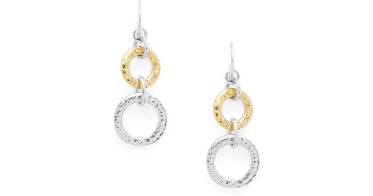Lyst Gurhan 24k Gold Sterling Silver Circle Drop Earrings In Metallic