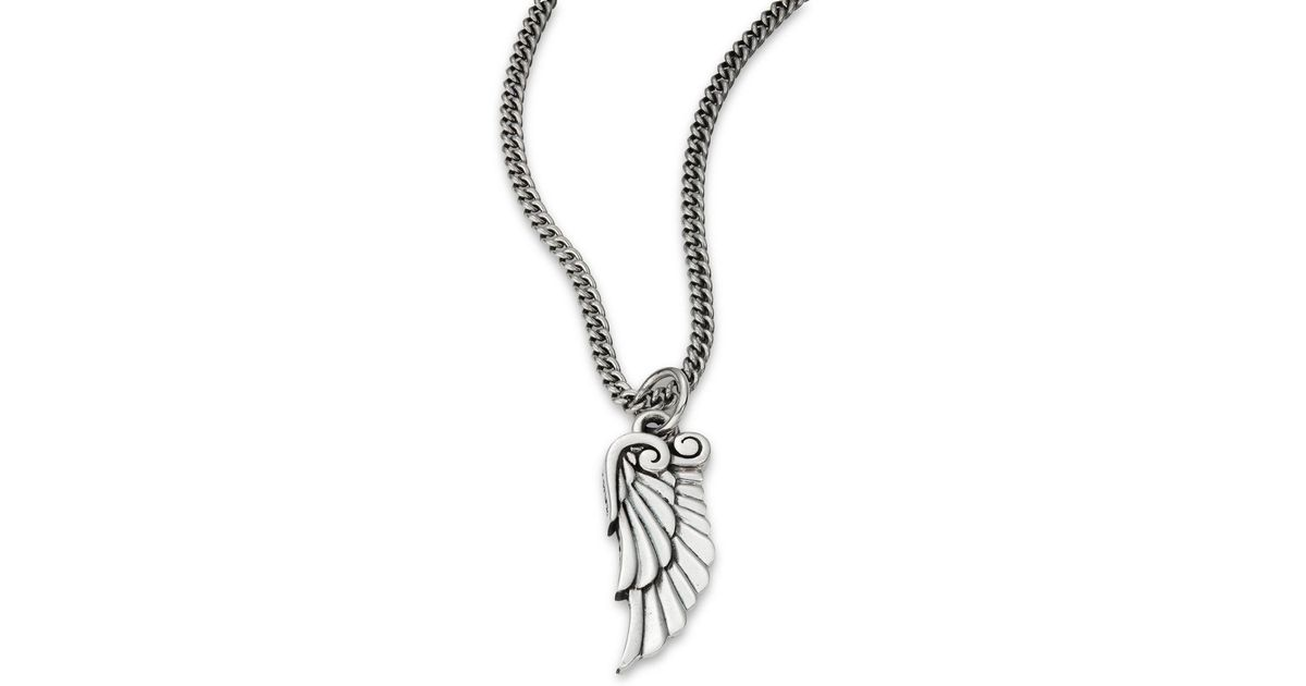Lyst king baby studio sterling silver bird wing pendant necklace lyst king baby studio sterling silver bird wing pendant necklace in metallic mozeypictures Image collections
