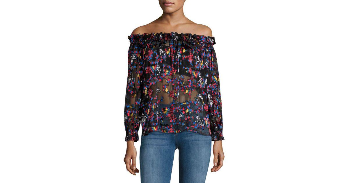 Saloni Woman Cold-shoulder Fil Coupé Cotton-blend Seersucker Top Navy Size 4 Saloni Sale Comfortable Looking For Cheap Online Pre Order SFO7YU