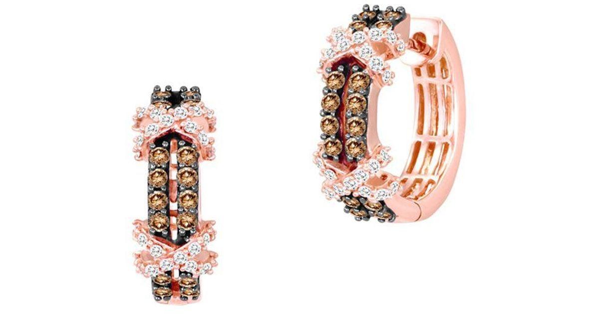 Lyst Le Vian 14k Strawberry Gold Vanilla Diamonds Chocolate Huggie Earrings In Metallic