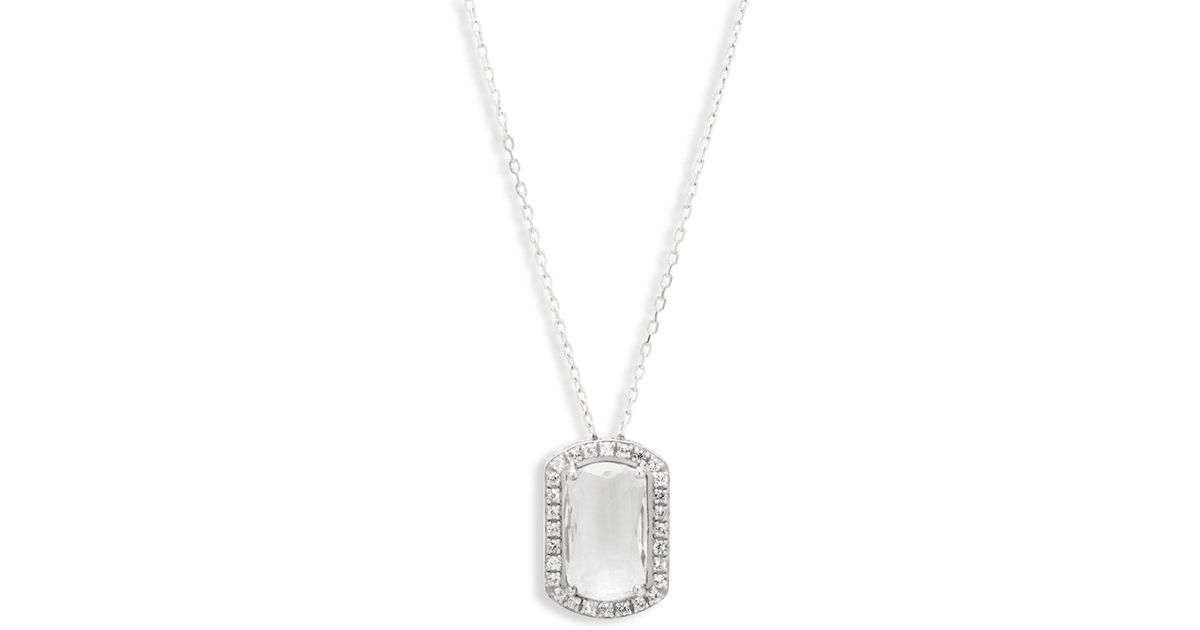 Lyst suzanne kalan sapphire white topaz and 14k white gold lyst suzanne kalan sapphire white topaz and 14k white gold pendant necklace in white aloadofball Image collections