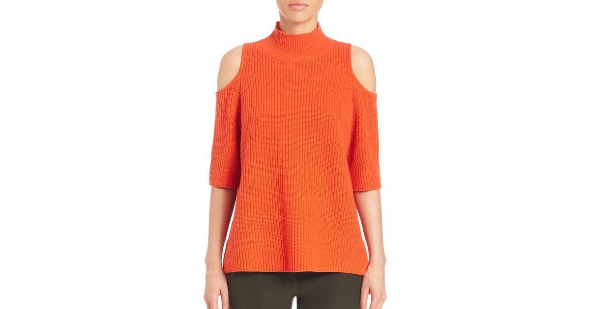 15ff8b55a0d Zoe Jordan Gondola Wool & Cashmere Cold-shoulder Sweater in Orange - Lyst