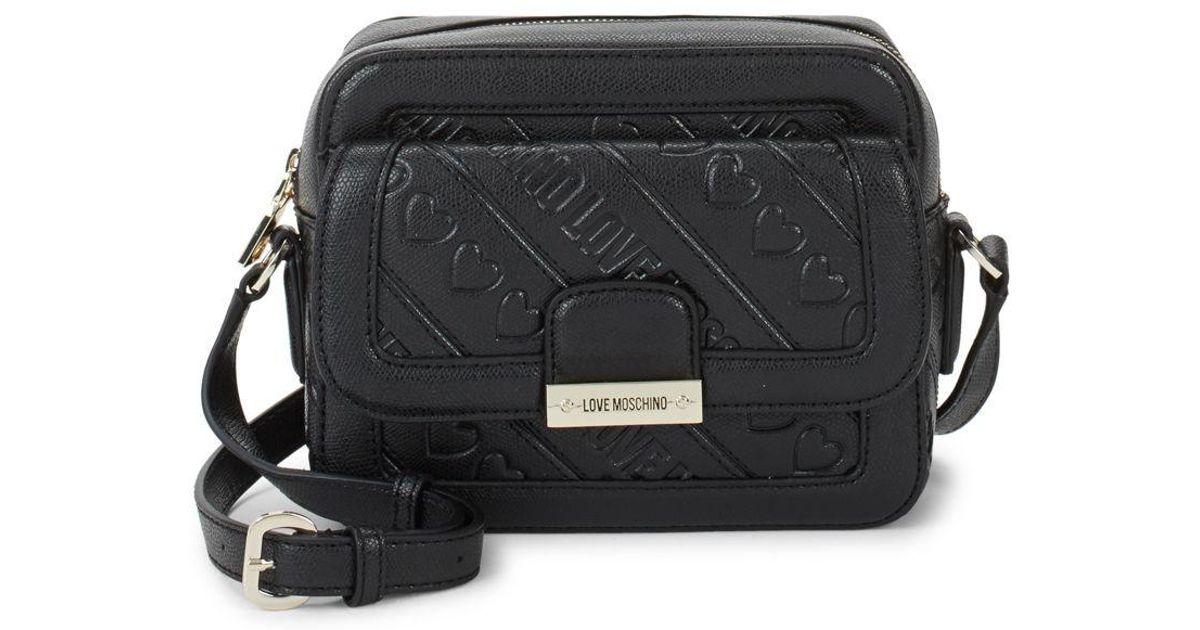 6f1de087bc7 Love Moschino Saffiano Crossbody Bag in Black - Lyst