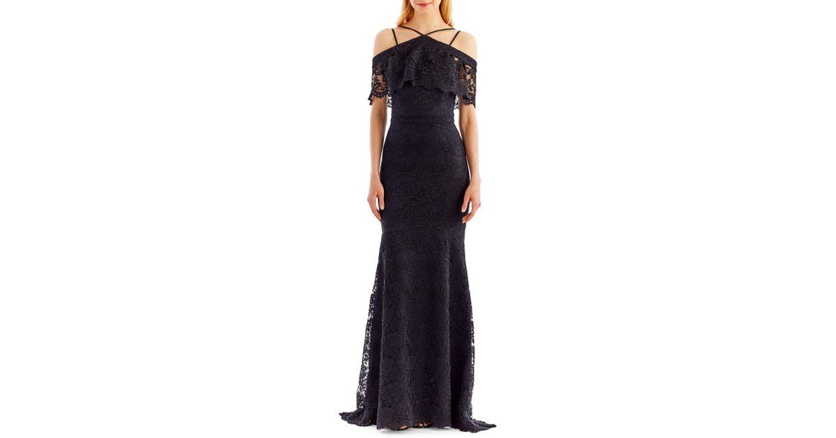 Lyst - Nicole Miller Floral Lace Trumpet Gown in Black