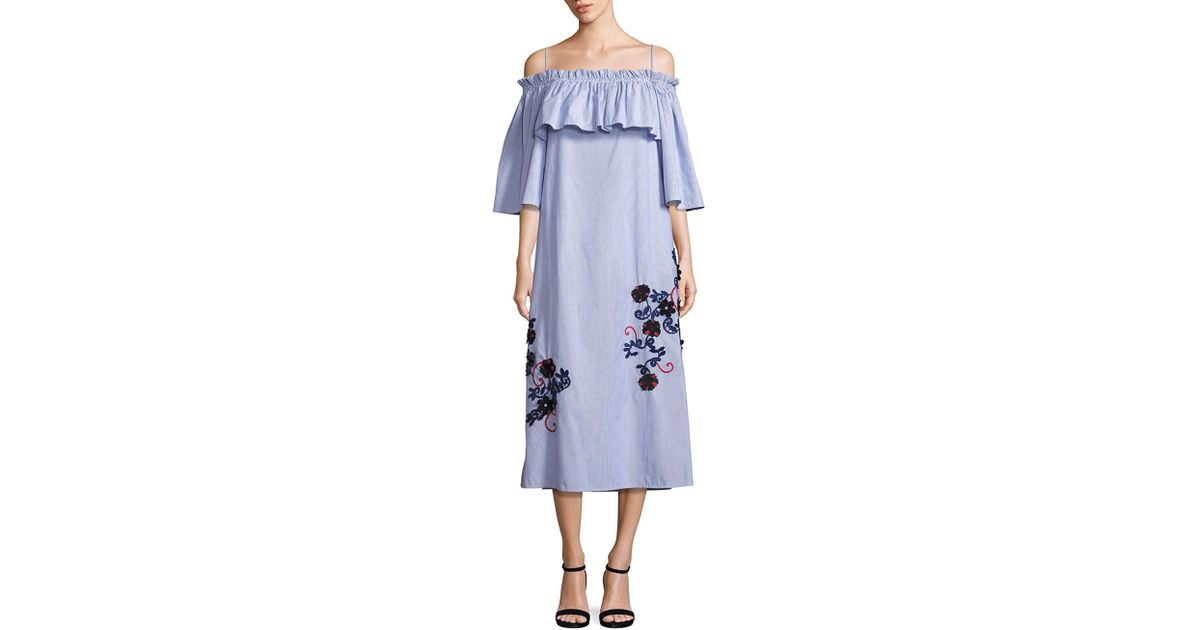 35403eb19982 SUNO Embroidered Off-shoulder Pinstripe Dress in Blue - Lyst