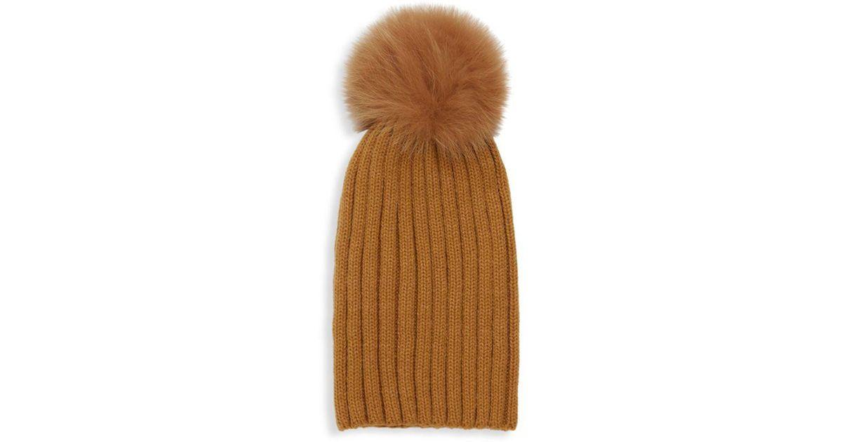 Lyst - Adrienne Landau Dyed Fox Fur Pom Pom Ribbed Beanie - Save 20% 3d4c8ad2abd7
