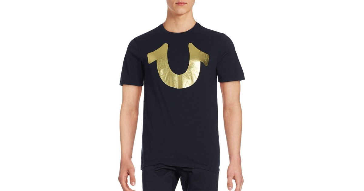 fc03cede True Religion Gold Horseshoe Logo Shirt in Black for Men - Lyst