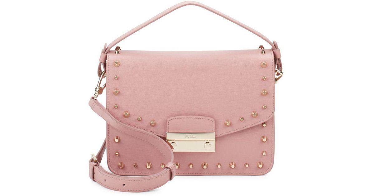 Leather Furla Shoulder Bag Studded Julia Pink O8PknwZNX0