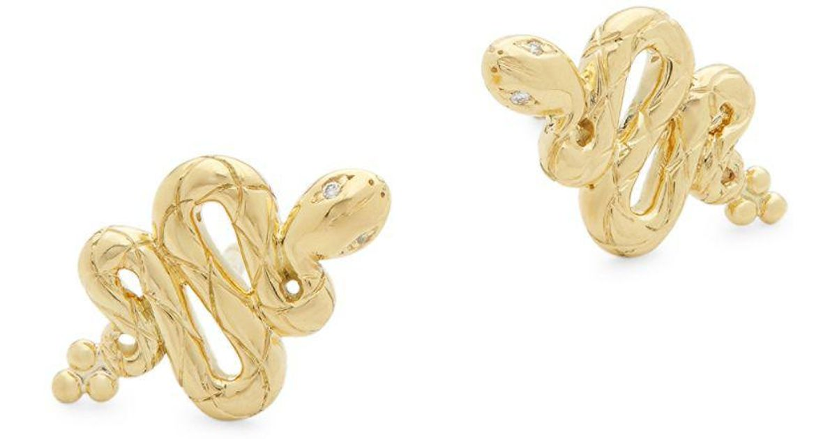 Temple St  Clair - Metallic 18k Yellow Gold & Diamond Serpent Stud Earrings  - Lyst