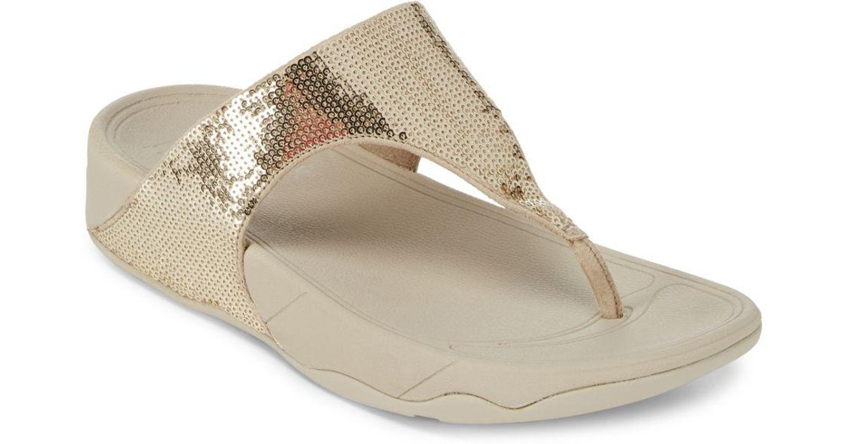 fba6bced2bc Lyst - Fitflop Electra Open Toe Slip-on Sandals in Metallic