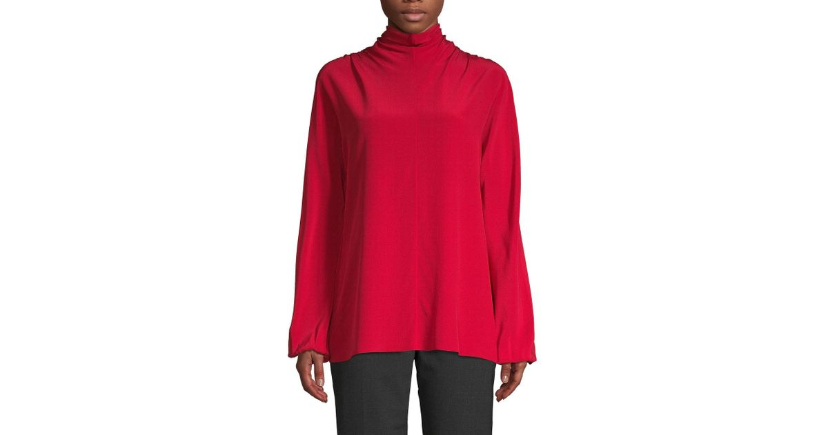 5b794bf2490be9 Lyst - Prada Bow-back Silk Blouse in Red
