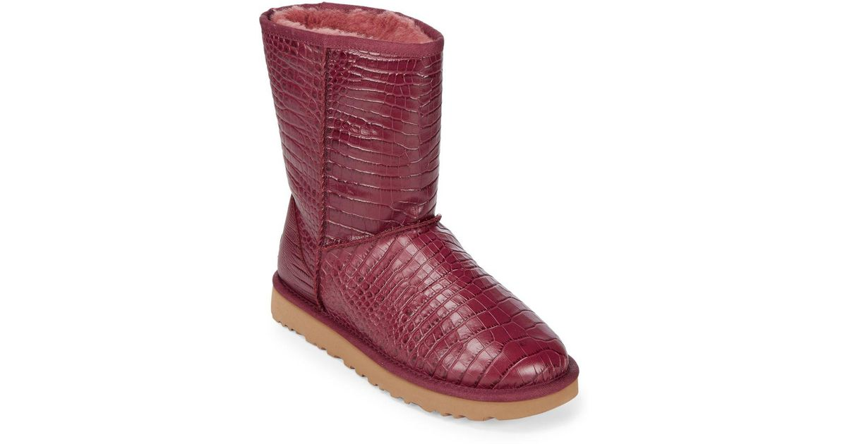 8709272ac66 Ugg Red Classic Short Crocodile Embossed Boots