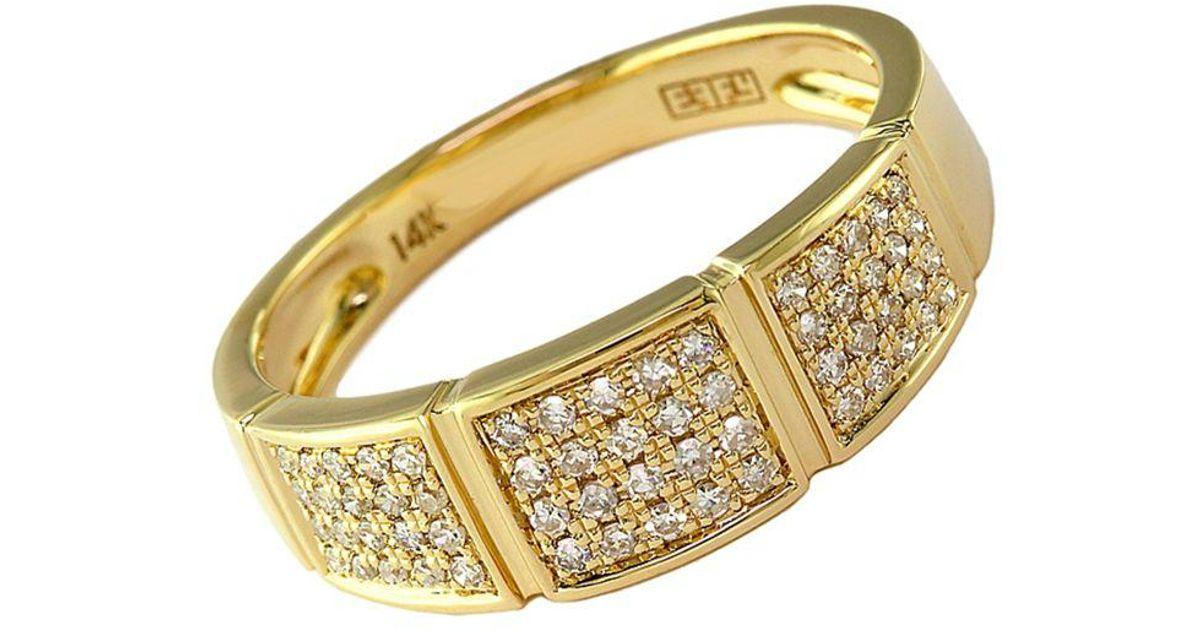 Effy Metallic D Oro 14kt Yellow Gold And Diamond Band Ring