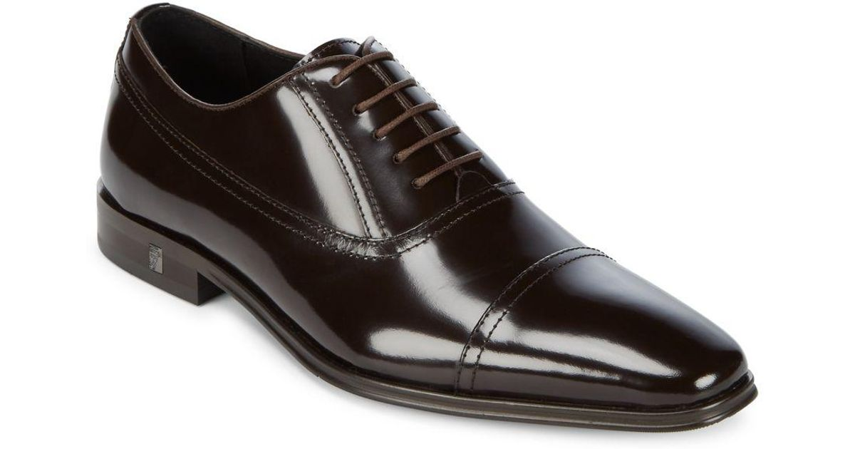 Versace Cap Toe Leather Oxfords in