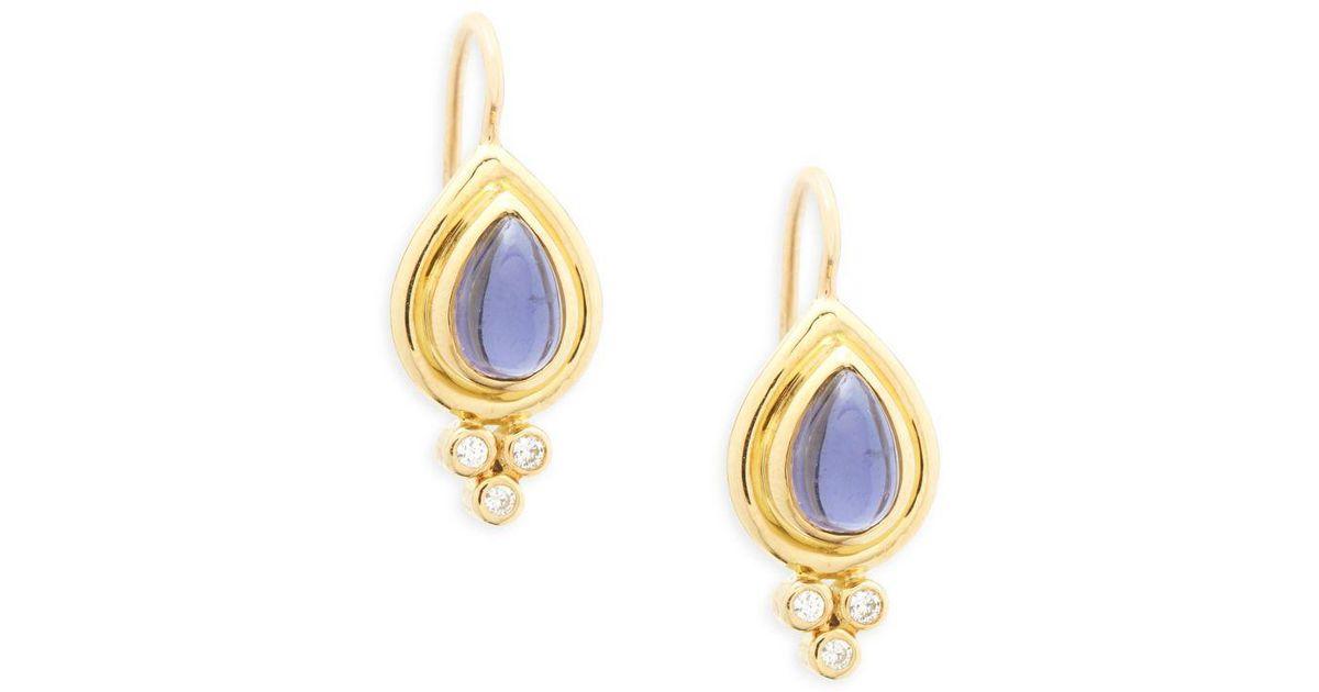 Temple St  Clair Metallic 18k Yellow Gold Pear Drop Earrings