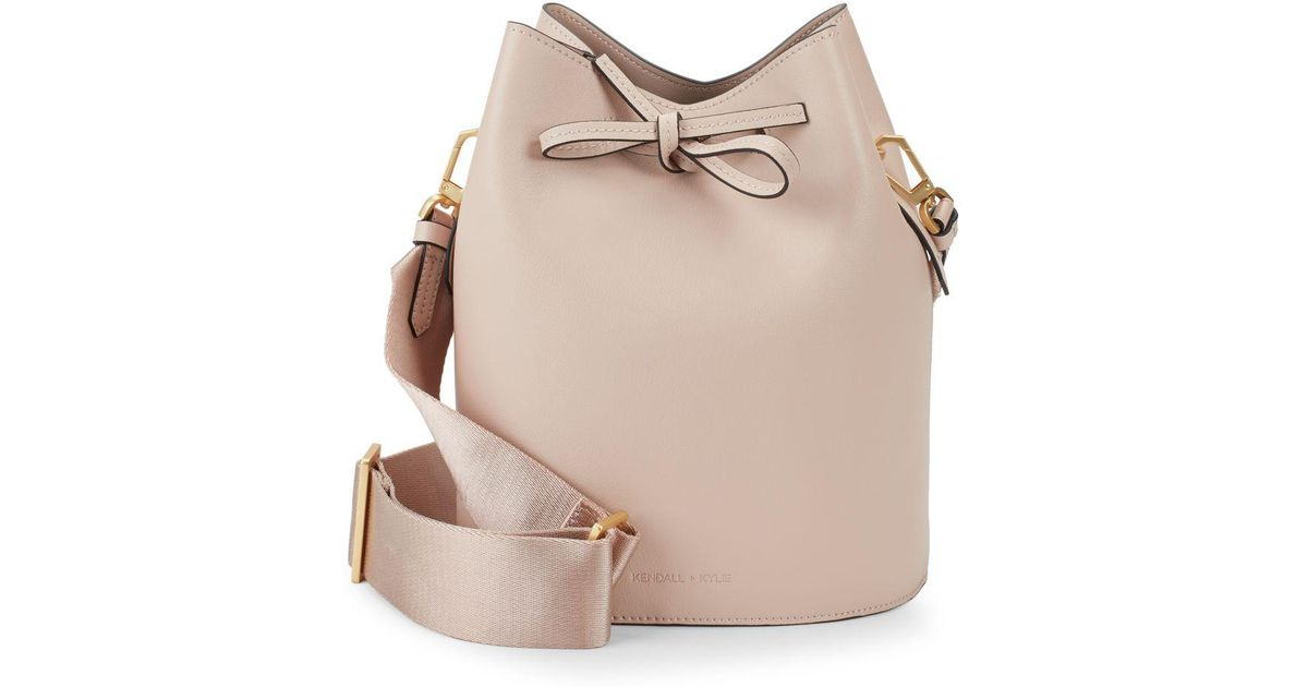 9db3943ae16d Kendall + Kylie Mini Leather Drawstring Bucket Bag in Natural - Lyst