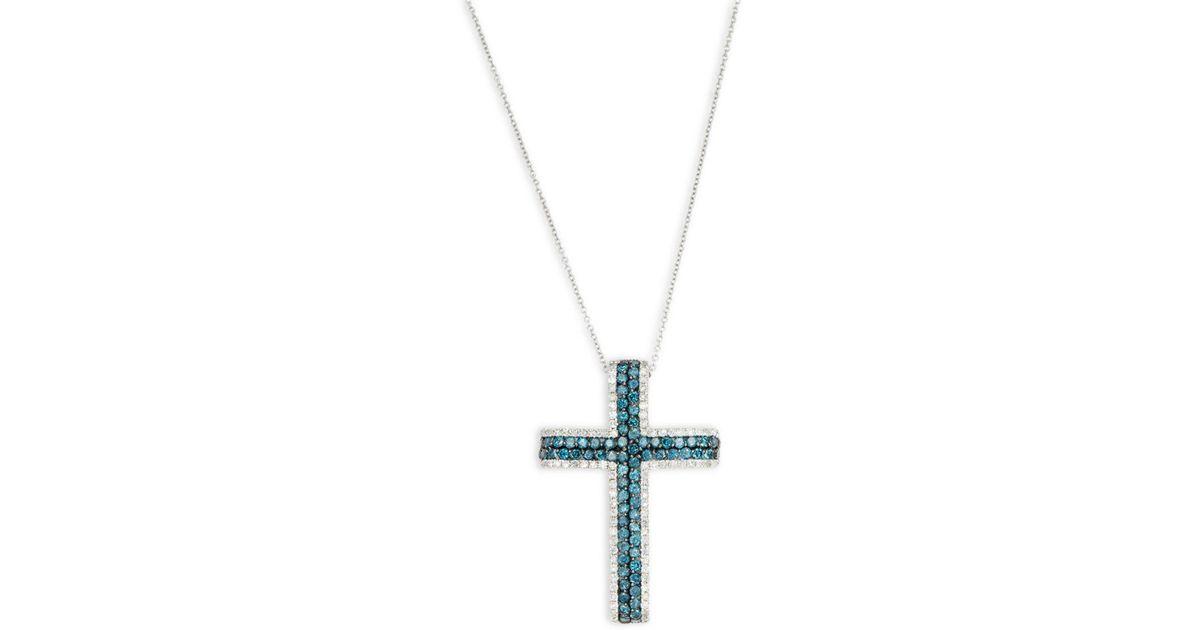 Lyst effy diamond blue diamond 14k white gold cross pendant lyst effy diamond blue diamond 14k white gold cross pendant necklace in metallic mozeypictures Choice Image