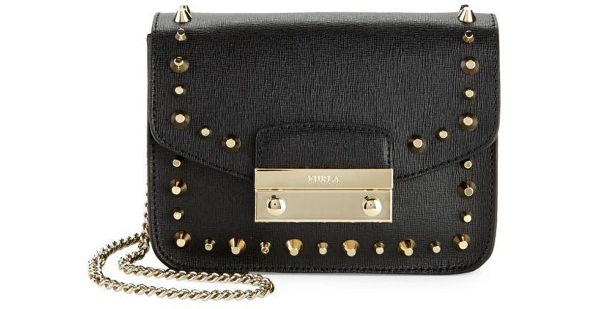289840a6d866 Lyst - Furla Julia Studded Mini Leather Crossbody Bag in Black - Save 29%