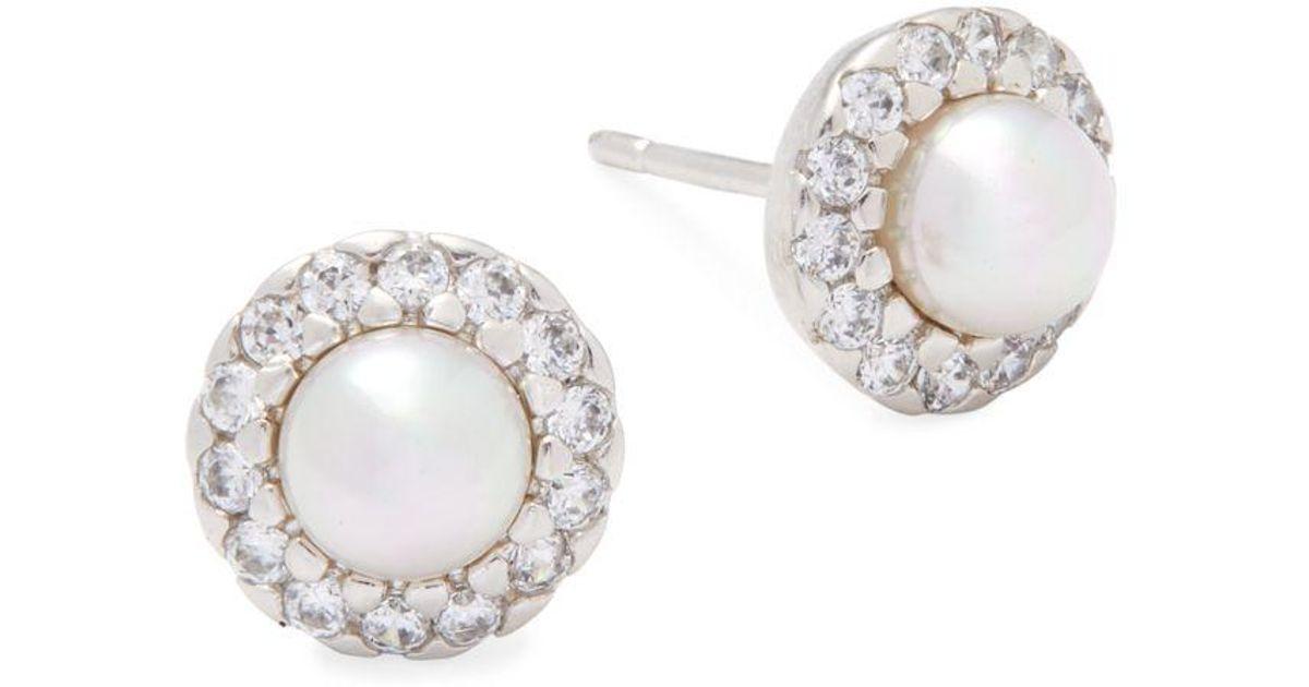 Majorica 5mm White Pearl Sterling Silver Halo Stud Earrings In Lyst