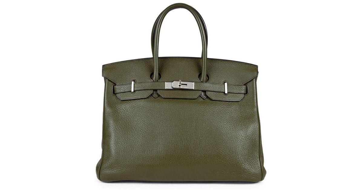 Lyst - Hermès Vintage Green Clemence Birkin 35 in Green c430f68923