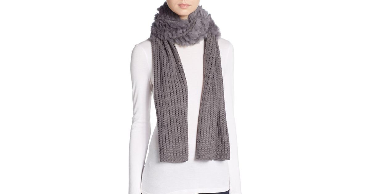 Lyst la fiorentina dyed rabbit fur accent knit scarf in gray