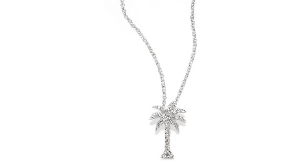 Lyst effy diamond 14k white gold palm tree pendant necklace in lyst effy diamond 14k white gold palm tree pendant necklace in white save 48 aloadofball Image collections