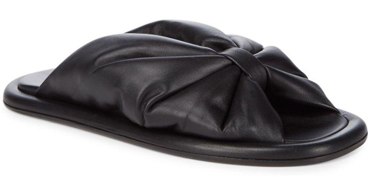 fab27dec44e Lyst - Balenciaga Leather Bow Slippers in Black