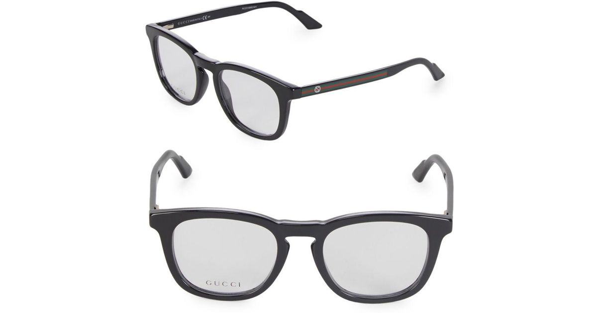 Lyst - Gucci Stripe 50mm Optical Frames in Black