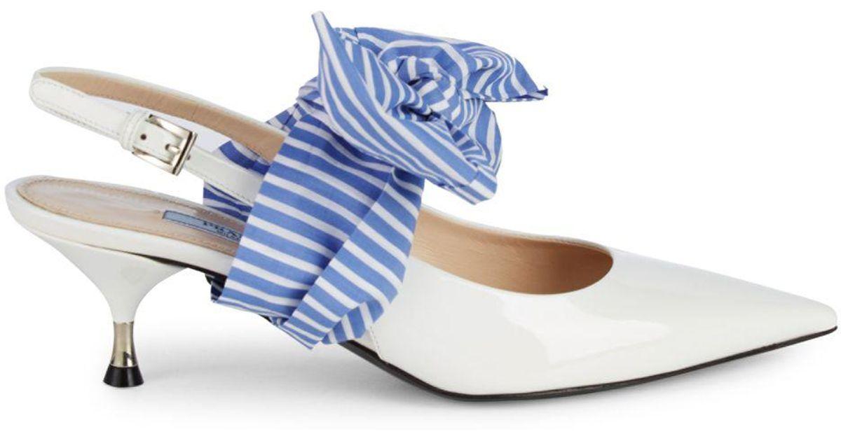 Women's Kitten heel Pumps in silver Prada Pumps Peeptoes