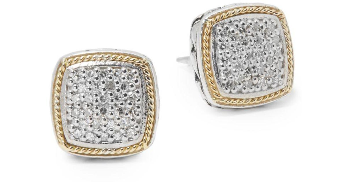 Lyst Effy Diamond In 18k Gold Sterling Silver Square Earrings Metallic Save 10 798122065727696