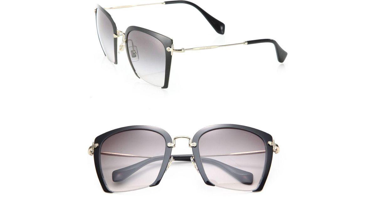 635b6477dc69 Lyst - Miu Miu 52mm Semi-rimless Acetate   Metal Square Sunglasses in  Natural