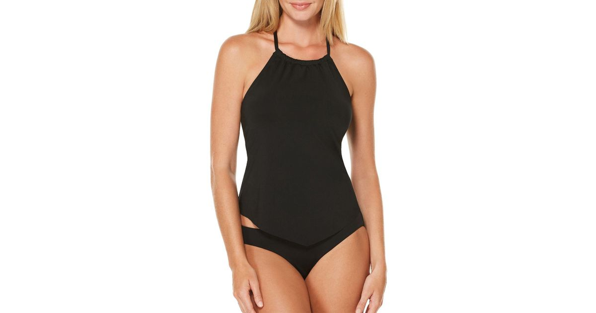 c3d89179fe Lyst - Laundry by Shelli Segal Beaded High Neck Tankini in Black