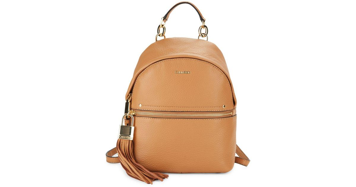 4f96211fdf4 Calvin Klein Lynn Pebbled Leather Backpack - Lyst