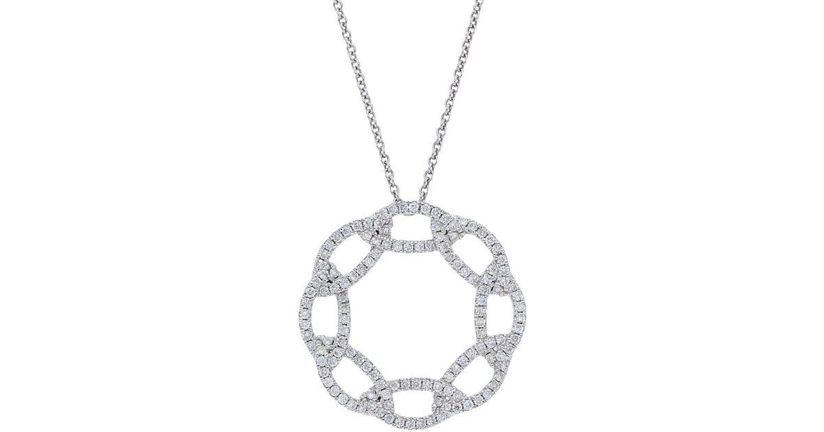 Lyst nephora 14k white gold and interlocking diamonds circle lyst nephora 14k white gold and interlocking diamonds circle pendant necklace in metallic aloadofball Choice Image