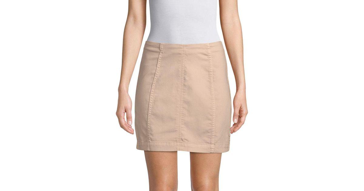 14899d096 Free People Modern Femme Denim Mini Skirt in Natural - Lyst