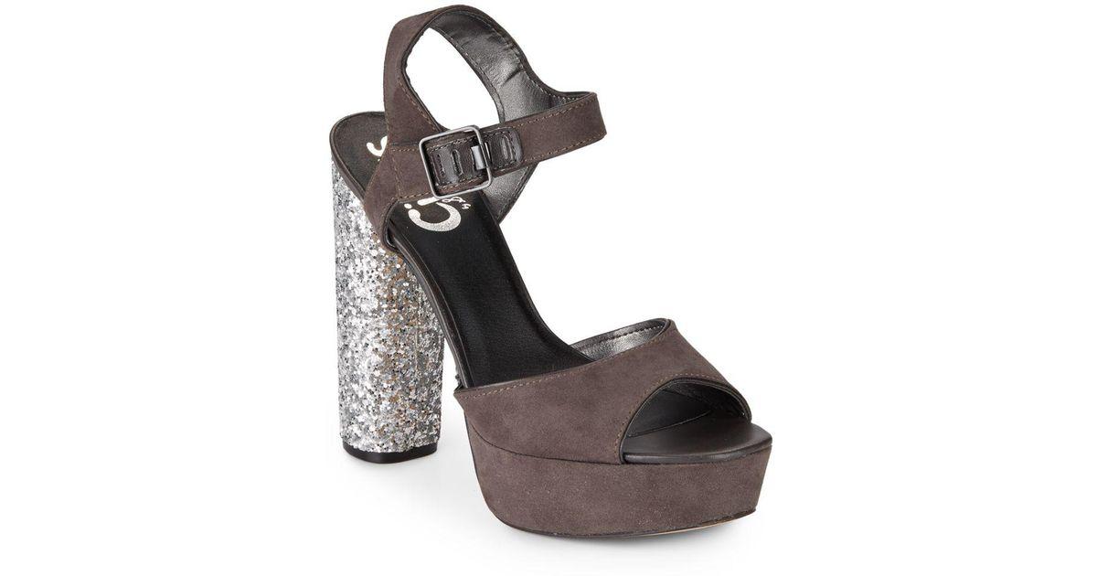 Circus by Sam Edelman Natural Cosmo Glitter heel Platform Sandals