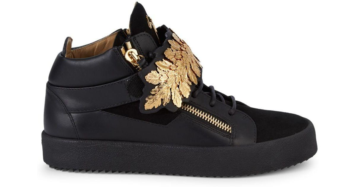 4d571bbda Giuseppe Zanotti Goldleaf High-top Sneakers in Black - Lyst