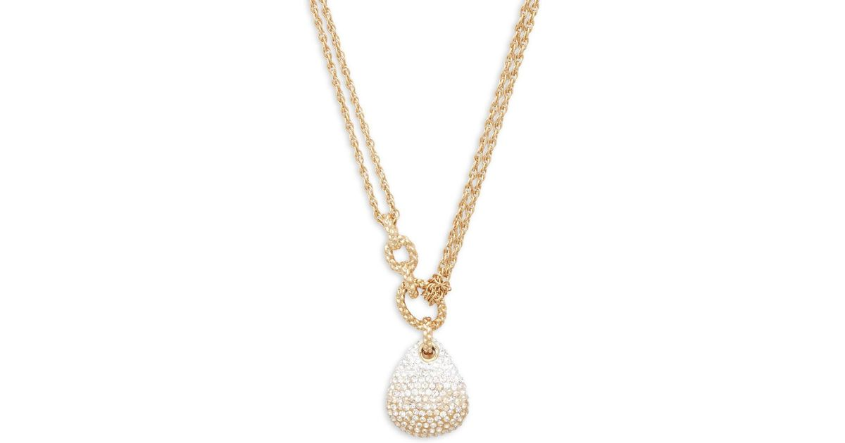 Lyst swarovski teardrop crystal pendant necklace in metallic aloadofball Gallery