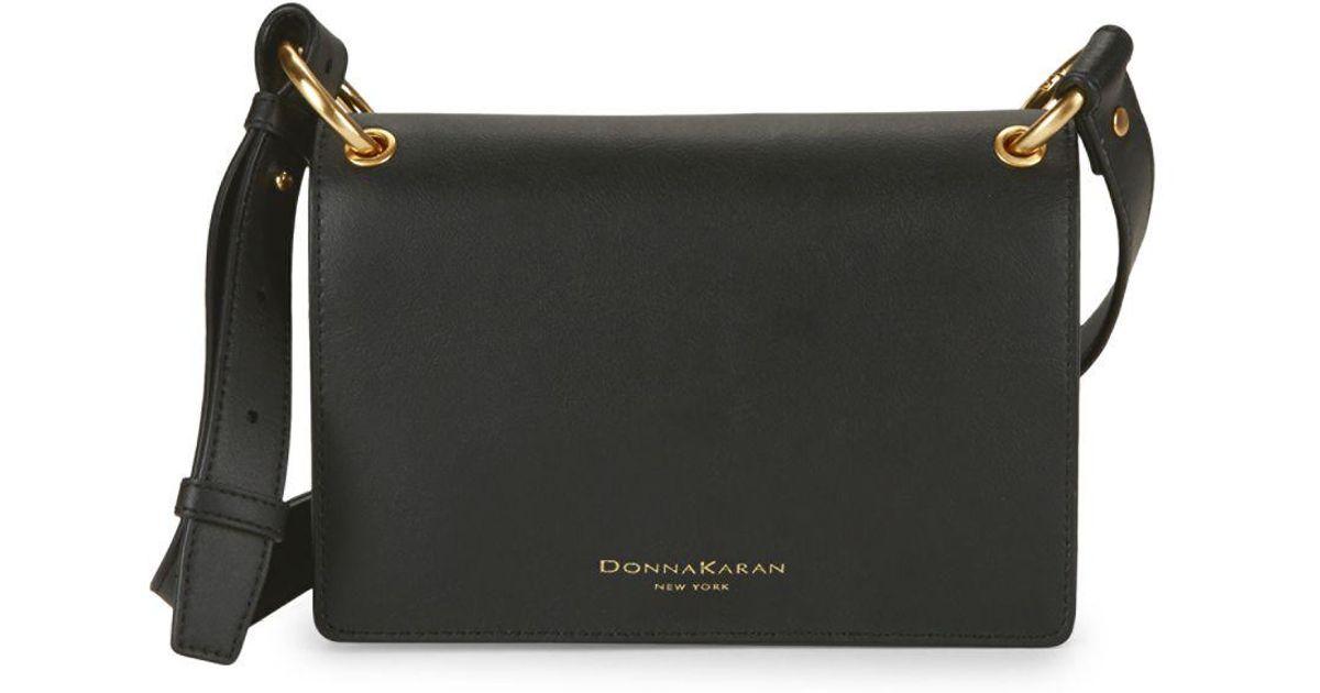 1e3ca90fce7 Donna Karan Leather Crossbody Bag in Black - Lyst