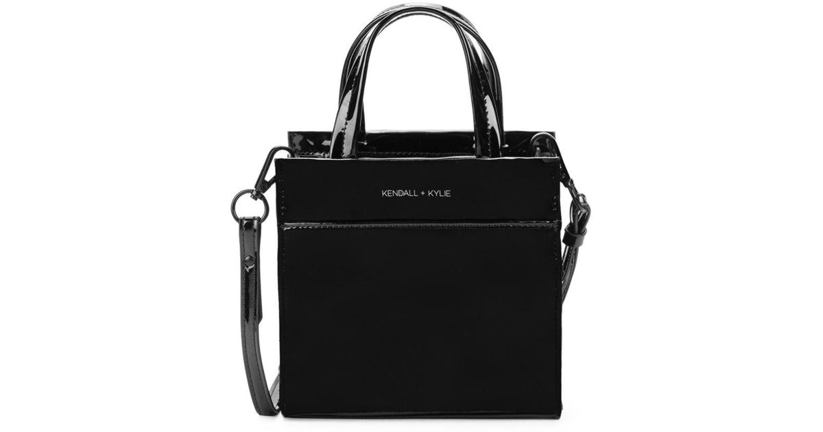 Kendall Kylie Black Lori Patent Tote Crossbody Bag