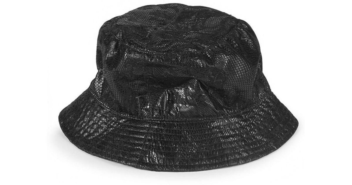 Lyst - Valentino Leather Bucket Hat in Black 73c1dd514d8