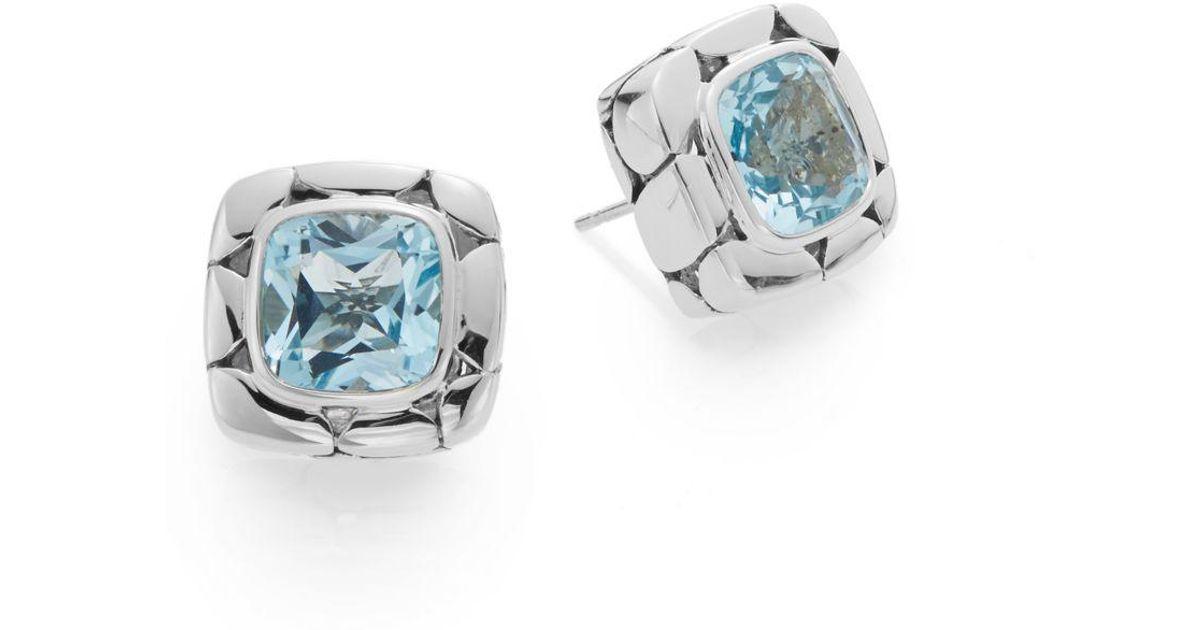 John Hardy Blue Topaz Square Stud Earrings AzzrO