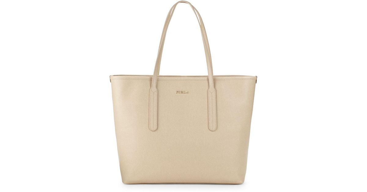 e863911b2d09d9 Furla Ariana Leather Open Tote Bag in Natural - Lyst