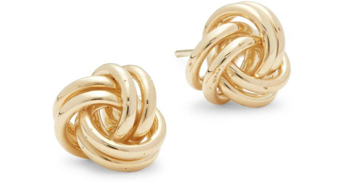 Lyst Saks Fifth Avenue 14k Yellow Gold Round Loops Earrings In Metallic
