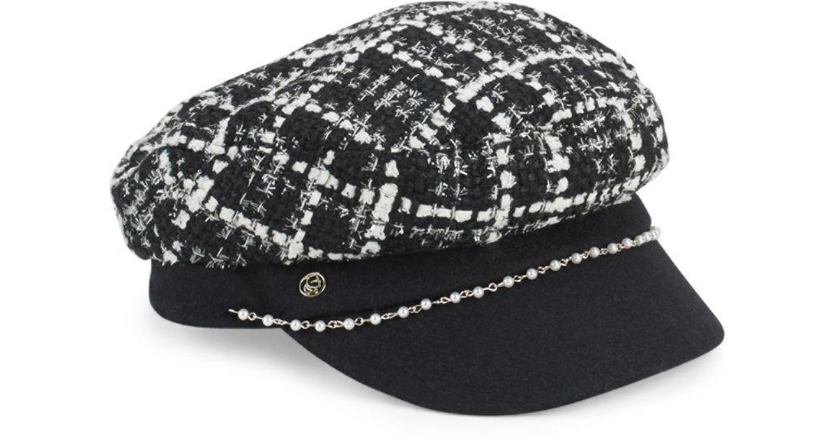 Lyst - Karl Lagerfeld Tweed Cabbie Cap in Black for Men 0a7bcbc6851