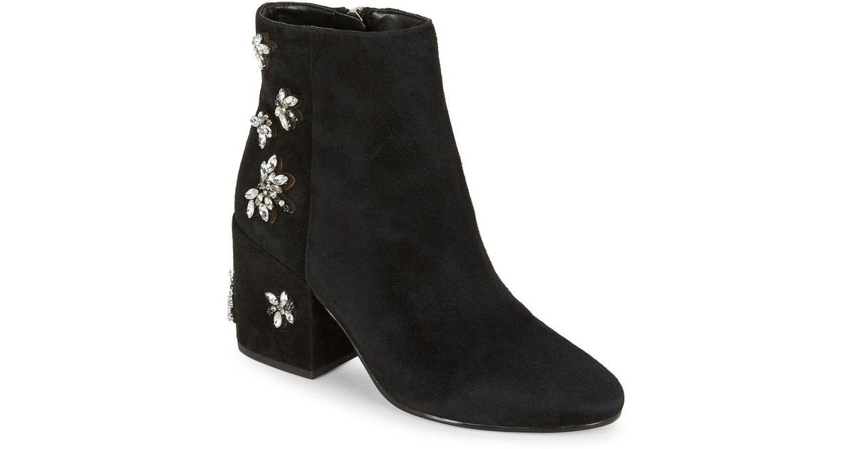 43cd78503a412 Lyst - Sam Edelman Taye Suede Embellished Ankle Boots in Black